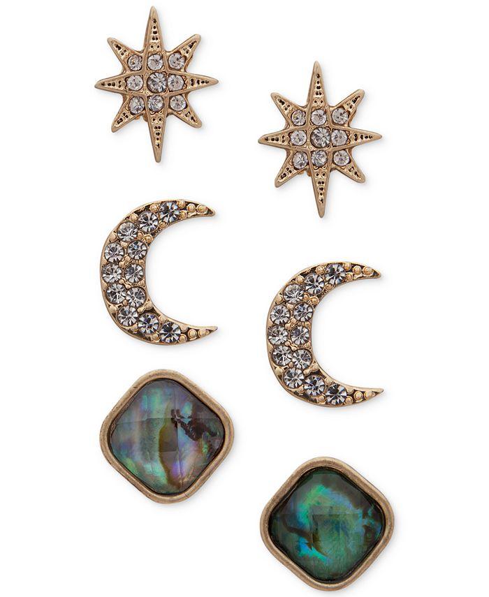 lonna & lilly - Gold-Tone 3-Pc. Set Pavé & Stone Celestial Stud Earrings