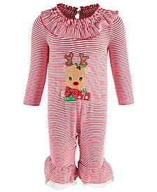 Baby Girls Striped Reindeer Coverall
