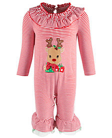Bonnie Baby Baby Girls Striped Reindeer Coverall
