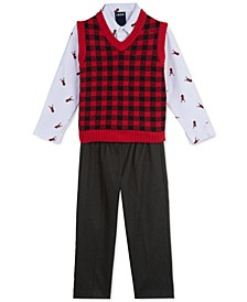 Toddler Boys 3-Pc. Buffalo Check Sweater Vest, Reindeer-Print Shirt & Pants Set