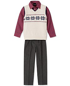 Little Boys 3-Pc. Snowflake Sweater Vest, Check Shirt & Pants Set