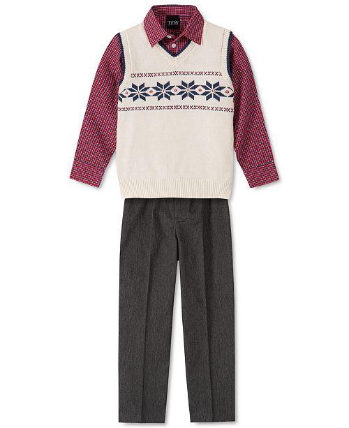 TFW Little Boys 3-Pc. Snowflake Sweater Vest, Check Shirt & Pants Set