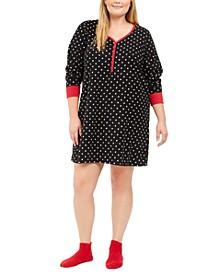 Plus Size Printed Henley Sleep Shirt & Socks, Set Created For Macy's