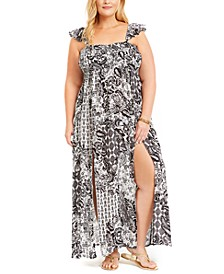 Plus Size Printed Smocked-Top Maxi Cover-Up Dress