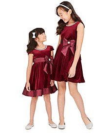 Little, Toddler & Big Girls Embellished Velvet Dress