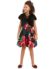 Big Girls 2-Pc. Faux-Fur Vest & Floral-Print Bubble Dress