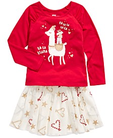 Toddler Girls Llama T-Shirt & Candy Cane Skirt, Created For Macy's