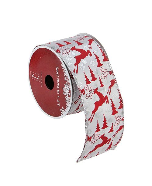 "Northlight Pack of 12 Silver and Red Flying Reindeer Wired Christmas Craft Ribbon Spools - 2.5"" x 120 Yards Total"