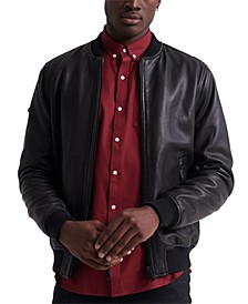 Men's Leather Flight Bomber Jacket