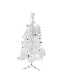Pre-Lit White Pine Slim Artificial Christmas Tree - Lights