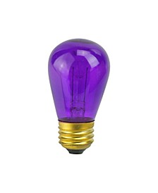 Pack of 25 Incandescent S14 Purple Christmas Replacement Bulbs