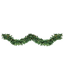 27' Pre-Lit Olympia Pine Artificial Christmas Garland - Warm White LED Lights