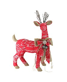 Country Rustic Reindeer with Bow Christmas Decoration