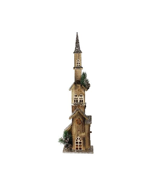 """Northlight 27.5"""" LED Lighted Multi Level Brown Wooden Church Christmas Decoration"""