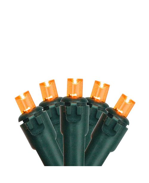Northlight Set of 50 Orange LED Wide Angle Christmas Lights on Green Wire