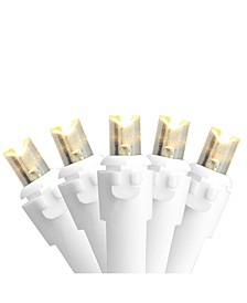 Set of 50 Warm White LED Wide Angle Christmas Lights - White Wire