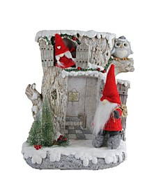 "17.5"" LED Lighted Woodland House with Red Plush Gnome Couple Christmas Decoration"