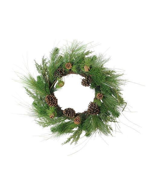 Northlight Pine Cones and Mixed Pine Needles Christmas Wreath - Unlit