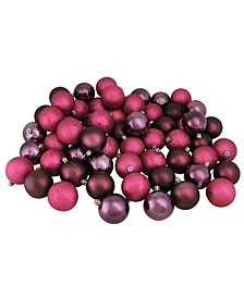 """60ct Mulberry Red Shatterproof 4-Finish Christmas Ball Ornaments 2.5"""" 60mm"""