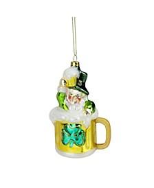 """5"""" Luck of the Irish Leprechaun and Gold Beer Mug Glass Christmas Ornament"""