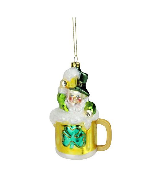 "Northlight 5"" Luck of the Irish Leprechaun and Gold Beer Mug Glass Christmas Ornament"