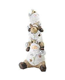 "26"" LED Lighted Santa Reindeer and Snowman Christmas Decoration"