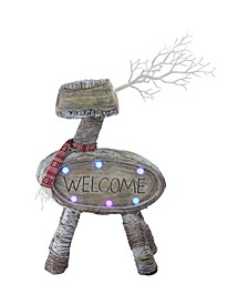 """23.5"""" LED Lighted Faux Wood """"Welcome"""" Reindeer Christmas Decoration"""