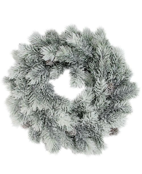 """Northlight 12"""" Flocked Green Pine Decorative Christmas Wreath with Pine Cones"""