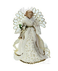 Lighted Fiber Optic Angel in Cream and Gold-Tone Gown Christmas Tree Topper