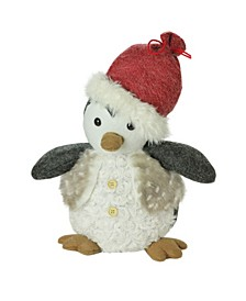 "12"" Plush Christmas Sitting Penguin in Faux Fur Vest and Red Beanie Santa Hat"