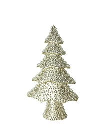"20.5"" ""All That Glitters"" Beaded and Gold Glittered Christmas Tree Table Top Decoration"