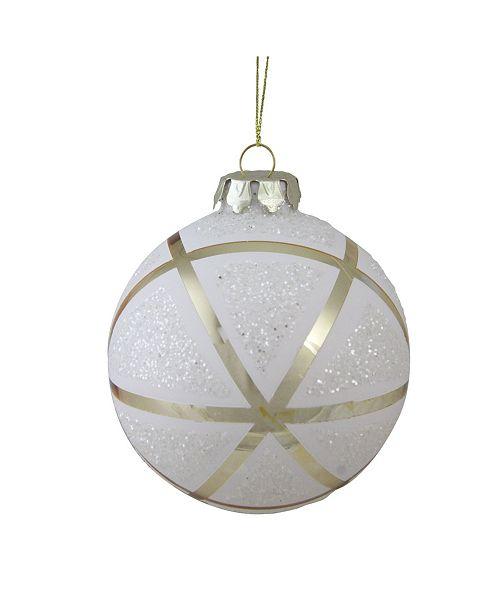Northlight 100mm Gilded White Christmas Geometric Glass Christmas Ball ornament