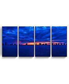 "Singer Skyline 4 Piece Wrapped Canvas Coastal Wall Art Set, 24"" x 48"""