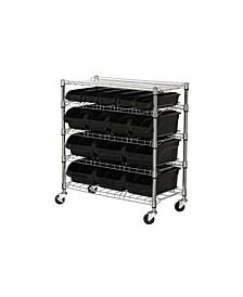 5-Shelf Mobile Bin Shelving Unit