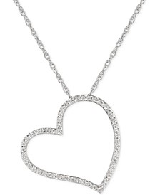 "Cubic Zirconia Heart 16"" Pendant Necklace in Sterling Silver"