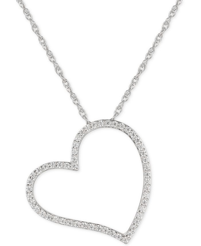 """Macy's - Cubic Zirconia Heart 16"""" Pendant Necklace in Sterling Silver"""