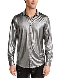 I.N.C. Men's ONYX Crinkled Foil Silver Metallic Shirt, Created For Macy's