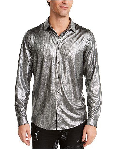 INC International Concepts I.N.C. ONYX Men's Crinkled Foil Silver Metallic Shirt, Created For Macy's