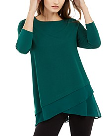 Sheer Crossover-Hem Tunic, Created For Macy's