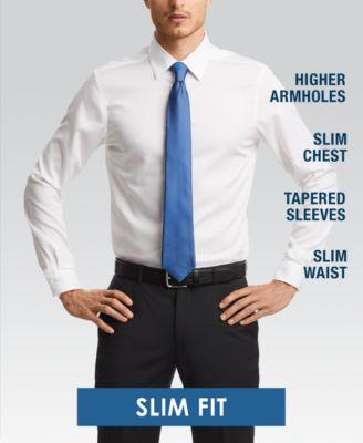 DKNY Mens Dress Shirt Slim Fit Stretch Solid French Cuff Dress Shirt