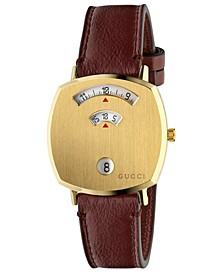 Grip Bordeaux Leather Strap Watch 35mm