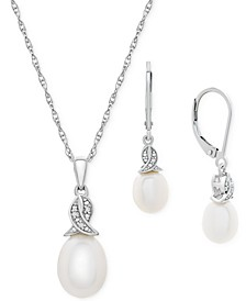 2-Pc. Set Cultured Freshwater Pearl (11 x 9mm & 9 x 7mm) & Diamond Accent Pendant Necklace & Matching Drop Earrings in Sterling Silver
