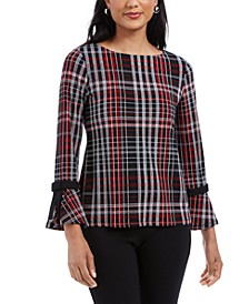Petite Plaid Crepe Bow-Detail Top, Created For Macy's