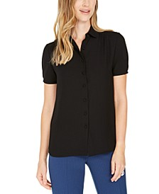 Cap-Sleeve Button-Up Blouse