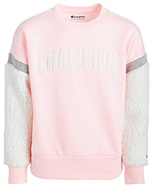 Little Girls Logo-Print Sweatshirt With Faux-Sherpa Trim