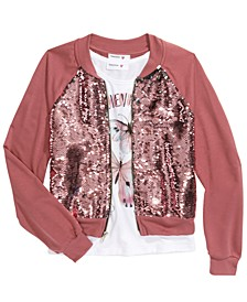 Big Girls 2-Pc. Flip Sequins Bomber Jacket & Just Believe Tank Top