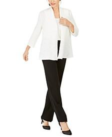 Textured Cardigan, Sleeveless Top & Tab-Waist Pants