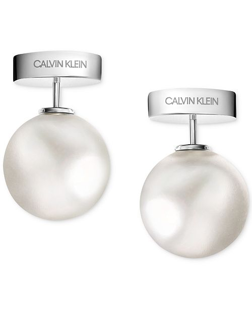Calvin Klein Bubbly Stainless Steel White Imitation Pearl Stud Earrings