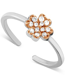 Crystal Clover Toe in Two-Tone Fine Silver Plate Ring