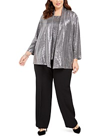 Plus Size Metallic Cardigan, Square-Neck Top & Trouser Pants